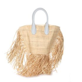 Tassel Straw Beach Bag - Khaki