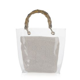 Transparent Woven Hand Bag - White