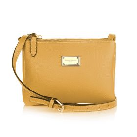 Sara Three Zippers Crossbody Bag - Yellow