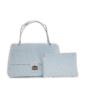 Diamond Flap Bag - Light Blue