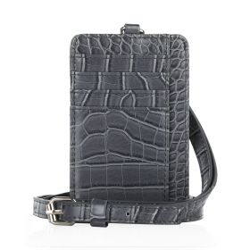 Dual Card Holder With Straps - Grey