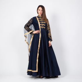 Motaraza - Blue Kimono styled Dress with a netted Blue and Gold Shawl, comes with a Blue Pant