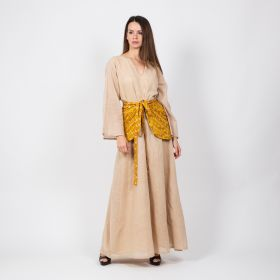 Kaftani - Beige Free Flowing Daraa with a Light Brown and Golden Belt