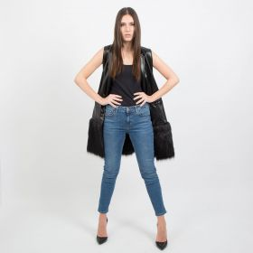Black Leather Vest with Fur