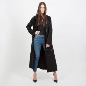 Black Chamois Coat with Belt - Small