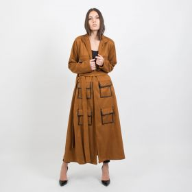 Camel Chamois Coat with Belt
