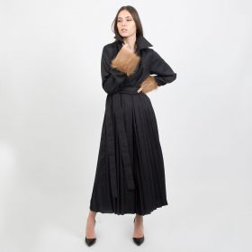 Navy Blue Jeans Maxi Belted Dress with Fur Cuffs - Small