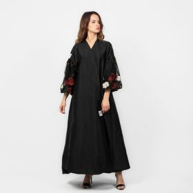 Floral Dolci Abaya - Black/ Red