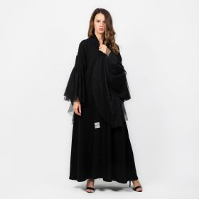 Long Tour Sleeves Abaya - Black