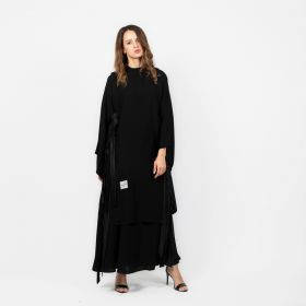 Abaya Ribbons Long - Black