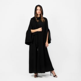 Abaya With Half Slit Sleeves - Black