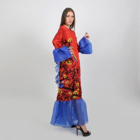 Red & Blue Straight Cut Daraa, Twisted On The Waist Comes With Puffed Sleeves & A Wavy Footnote