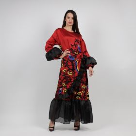 Red & Black Straight Cut Daraa, Twisted On The Waist Comes With Puffed Sleeves & A Wavy Footnote
