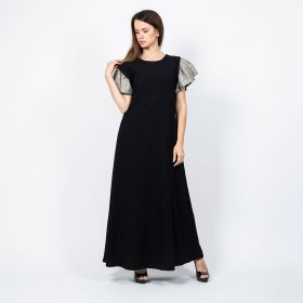 Dress With Ruffle Sleeves - Black/Metallic - M to L