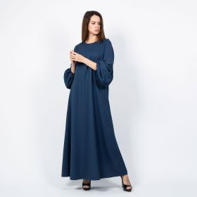 Dress With Puffy Bell Sleeves - Navy Blue - M to L