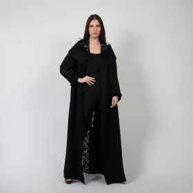 Bisht With Dantel - Black