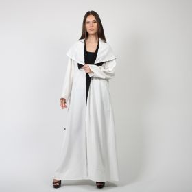 Crepe Bisht With Black Lines - White