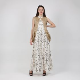 Cotton & Linen Kaftan - White & Gold
