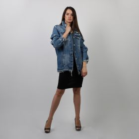 Ripped Denim Jacket - Blue - Medium