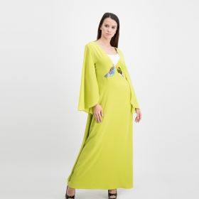 Crepe Cotton  V Neck Dress - Lime Green