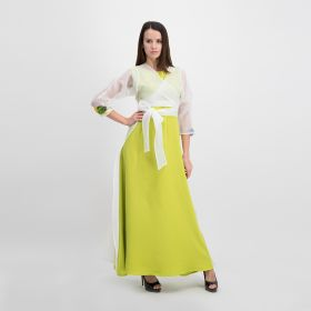Crepe Cotton Dress with a Jacket - Lime Green and  White