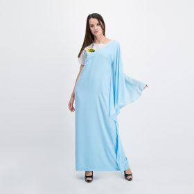 Crepe Cotton  Two-layered Dress - Blue