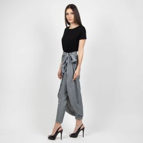 By Razan - White And Grey Striped Pant Comes With Wrapped Piece On The Top