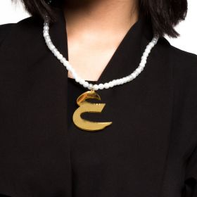 Plastic Beads Chain With The Letter ع In A Mirror Gold Finish