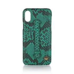 iPhone X/XS Real Python Leather Cover - Green