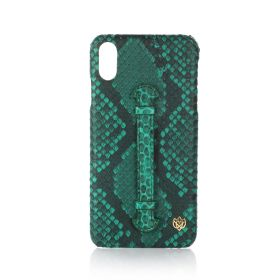 iPhone XS Max Real Python Leather Cover - Green