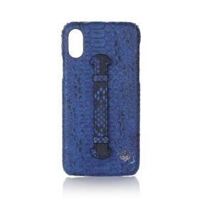 iPhone X/XS Real Python Leather Cover - Blue