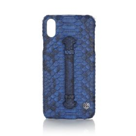iPhone XS Max Real Python Leather Cover - Blue