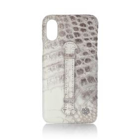 iPhone X/XS Real Crocodile Leather Cover - Himalaya White