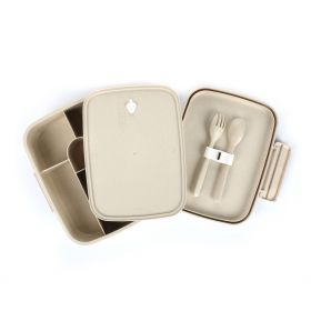 5 Compartments Lunch Box With Cutleries - Beige
