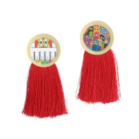 Cooper Earrings with Red Oversized Tassels