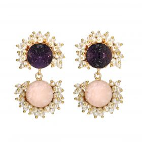 Gold Plated Double Earrings - Pink And Purple