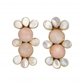 Gold Plated Cluster Earrings - Pink And White