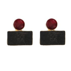 Gold Plated Geometric Earrings - Red And Black