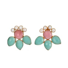 Gold Plated Magic Earrings - Green,Pink,White