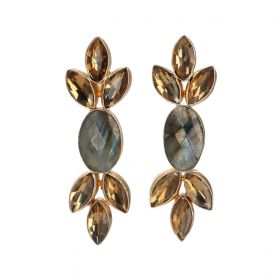 Gold Plated Symphony Earrings - Grey And Gold