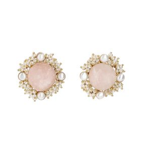 Gold Plated Cluster Earrings - White And Pink