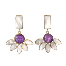 Gold Plated Danglers Earrings - Purple And White