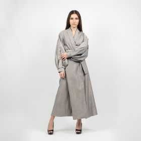 Statement Wrap Kaftan  - Grey With Sligh Gold