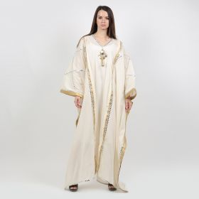 Golden Kaftan - Off-White With Gold