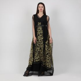 Tulle Kaftan - Black & Gold