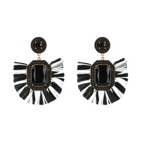 Raffia Earings -White & Black
