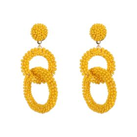 Circle Geometric Earings - Yellow