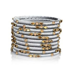 Decorated Bangles - Silver