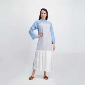 Pleated Long Sleeves Dress - Blue
