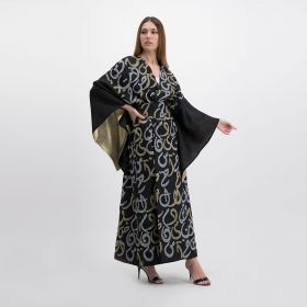 Linen Kaftan Embroidered With Gold & Silver Arabic Letters - Black